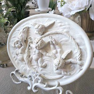 SHABBY Vintage COTTAGE Cherub WALL Plaque